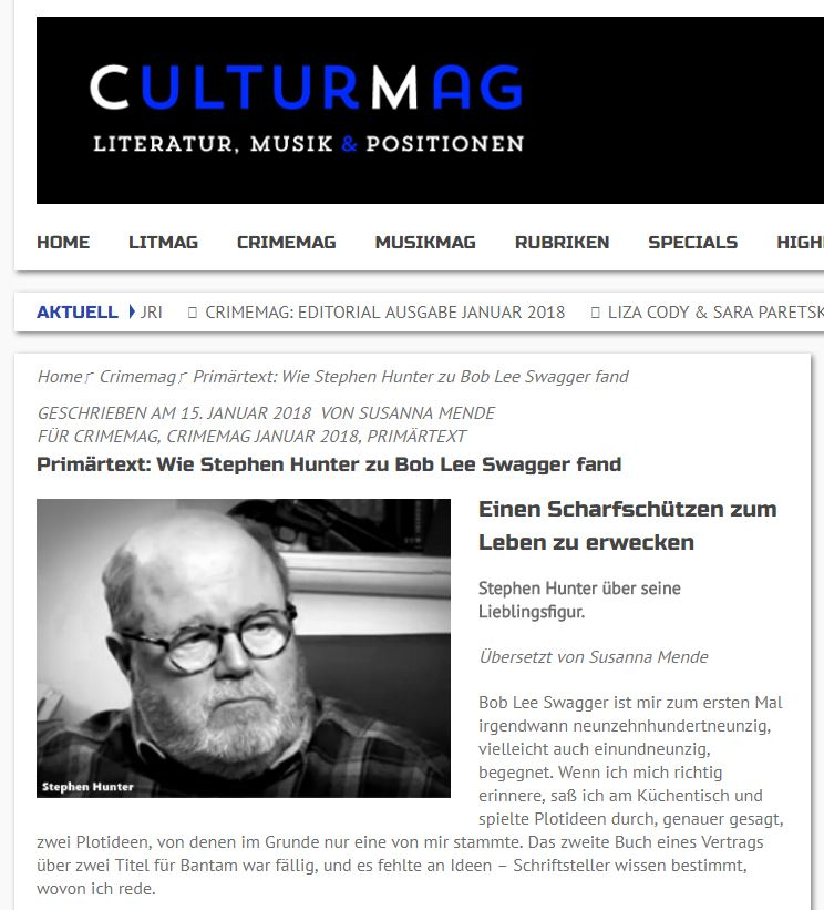 CULTUR MAG: Wie Stephen Hunter zu Bob Lee Swagger fand